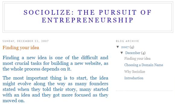 sociolize the pursuit of entrepreneurship a blog post about the next big ideas