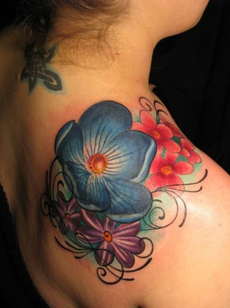 Purple Flower Shoulder Tattoo  Wwwimgkidcom  The Image