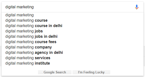 entering words in the search query