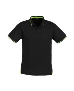 Mens Jet Polo P226MS Black and Bright Green