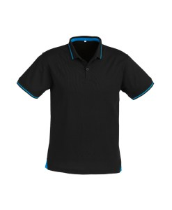 Mens Jet Polo P226MS Black and Cyan