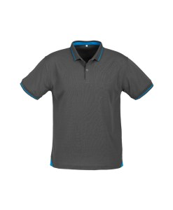 Mens Jet Polo P226MS Steel Grey and Cyan