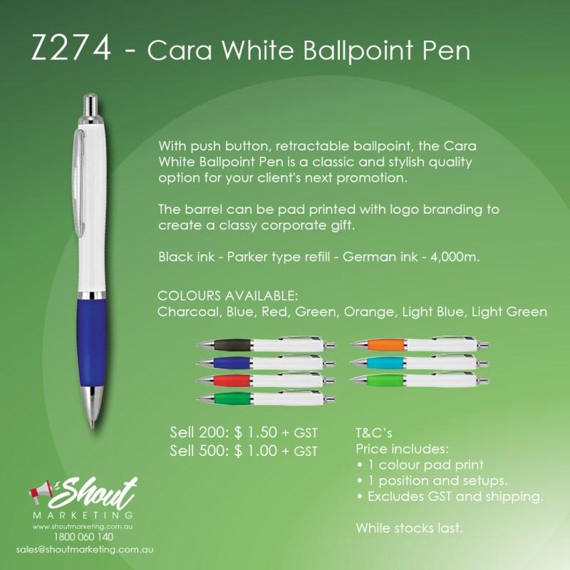 cara white ballpoint pen with printed logo