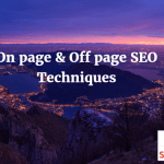 On page and Off page SEO Techniques To Rank High