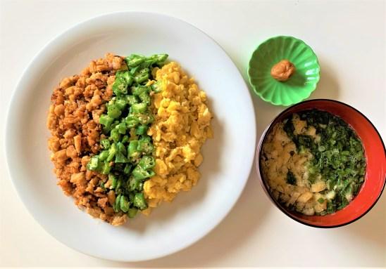 手作りブランチ。3色そぼろ。japanese-middle-aged-handmade-dinner