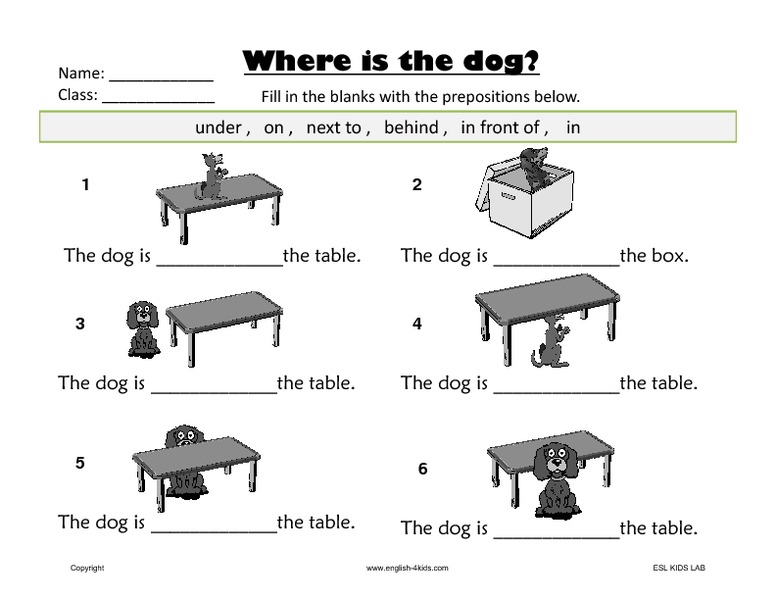 WORKSHEETS: Prepositions of place
