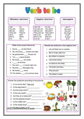Completar las frases y responder con el verbo TO BE