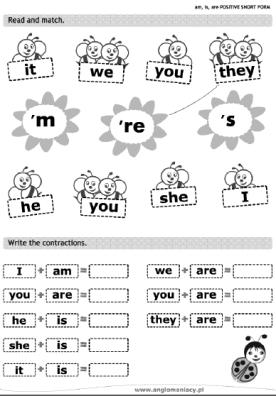 Unir y completar con las formas cortas del verbo TO BE