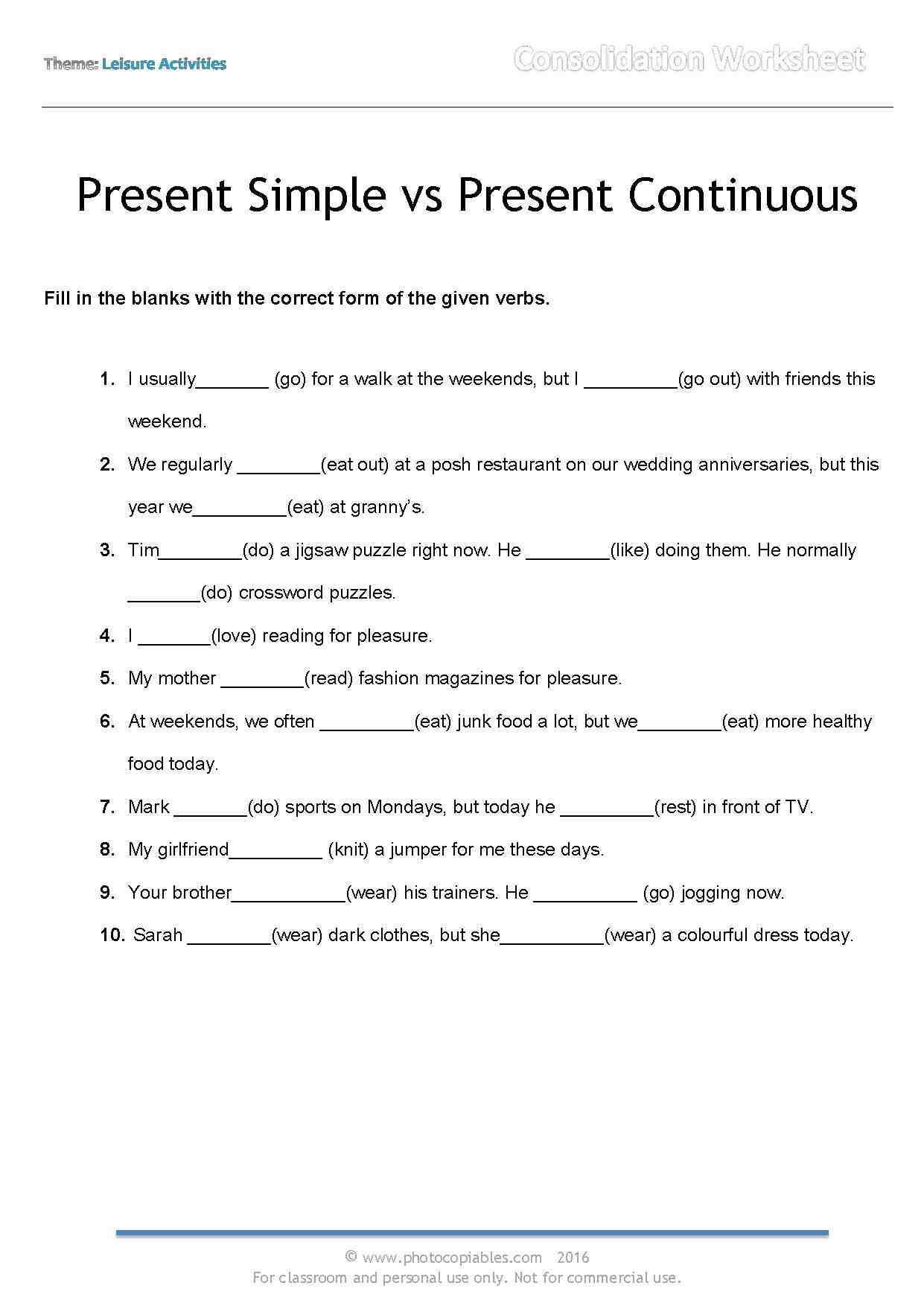 Worksheets Present Continuous Show And Text