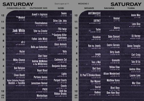 Coachella Weekend 2 - Saturday set times