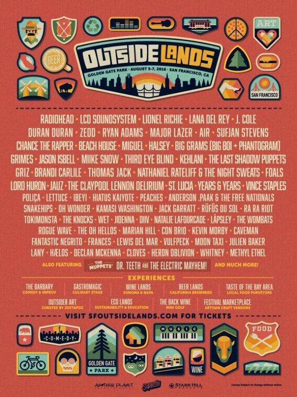 Outside Lands 2016 lineup