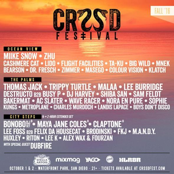 CRSSD Fest - Fall 2016 lineup