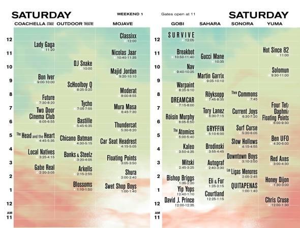 Coachella 2017 - Saturday set times