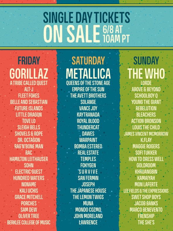 Outside Lands 2017 - daily lineups