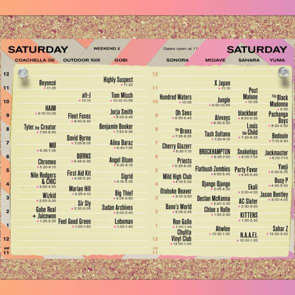 Coachella 2018 - Saturday set times