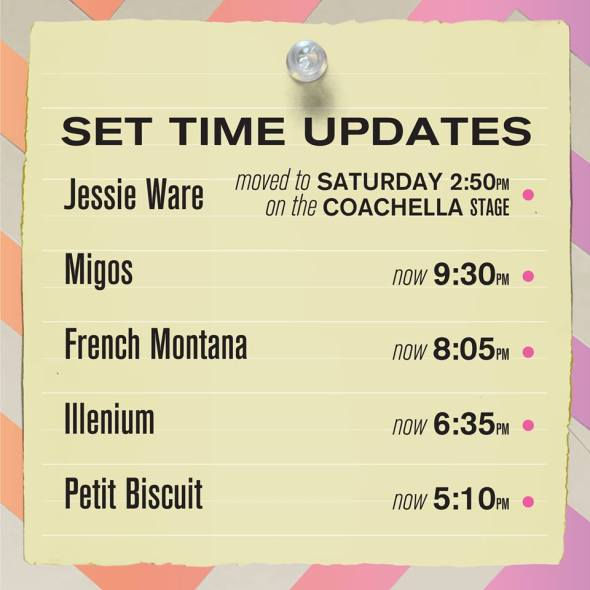 Coachella 2018 - Weekend 2 set time updates