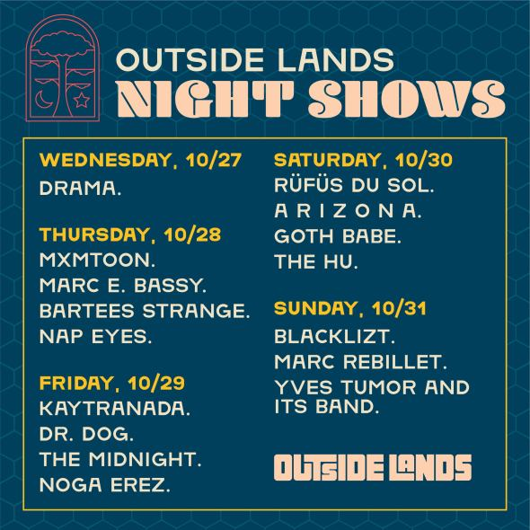 Outside Lands 2021 night shows - lineup