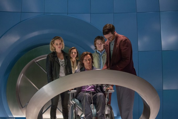 Jennifer Lawrence as Raven / Mystique, Rose Byrne as Moira MacTaggert, James McAvoy as Charles / Professor X, Lucas Till as Alex Summers / Havok and Nicholas Hoult as Hank McCoy / Beast, in X-MEN: APOCALYPSE.