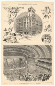 B&W reproduction of: Engraving; ICHi-00609; Season opening of the Auditorium Theatre; ; Chicago (Ill.); Dec. 9, 1889; Publisher—Frank Leslie's Illustrated Newspaper. Courtesy of the Chicago History Museum.