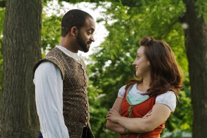 Midsommer - Ashlee Edgemon (Beatrice) and Martel Manning (Benedict). Photo by Zack Whittington