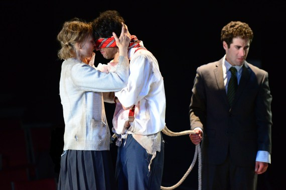 (pictured) Erin Barlow, John Taflan and Zeke Sulkes in The Hypocrites' world premiere of ALL OUR TRAGIC adapted and directed by Sean Graney. Photo by Evan Hanover.
