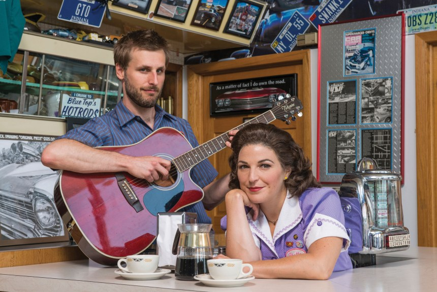 "Actor Shaun Whitley as ""Jim"" and actor Christine Mild as ""Rhetta Cupp"" from Pump Boys and Dinettes at Theatre at the Center in Munster.  The popular musical runs September 15 through October 16. © Theatre at the Center, Photo by Michael Brosilow"