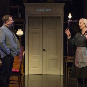 Scott Duff and Delia Kropp in About Face Theatre's production of I AM MY OWN WIFE, by Doug Wright, directed by Artistic Director Andrew Volkoff. Photo by Michael Brosilow.