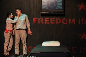 (left to right) Sarah Lo and Ray Kasper in AstonRep Theatre Company's production of 1984. Photo by Emily Schwartz.