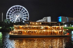 See City Lights and wheel of Brisbane on Kookaburra Queen