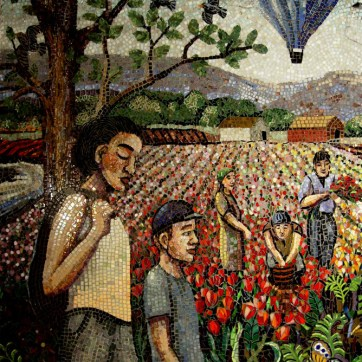 """Mosaic Mural The Skagit Left side full mural size is 60"""" x 144"""", tulip fields, children going to school, butterflies, flowers and foliage"""
