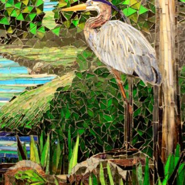 Heritage glass mosaic mural detail of a heron and a green frog.
