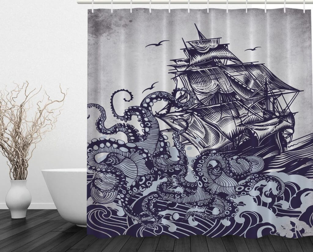 pirate ship shower curtain for the bathroom