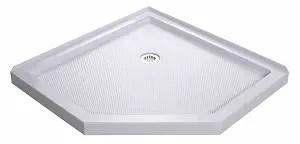 DreamLineSlimLine 36 in. D x 36 in. W x 2 3/4 in. H Corner Drain Neo-Angle Shower Pan in White