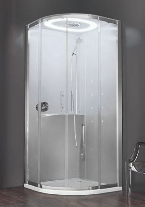 Novellini EON Quadrant shower pod  A beautiful curved glass shower enclosure  Complete with