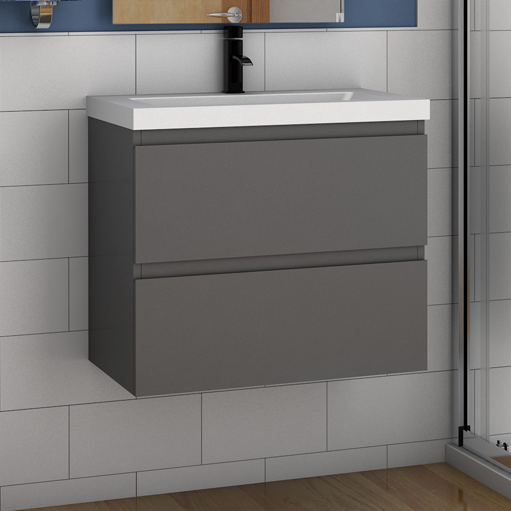 500 600mm Bathroom Wall Hung Grey Vanity Units With Sink Cabinet Pre Assembled Ebay