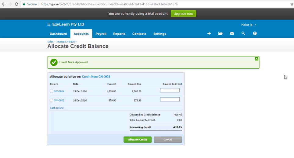 ACCTXER5120315 Xero Training - Learn to Create and Allocate Credit Note