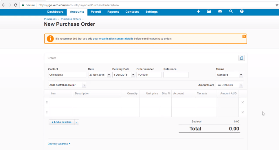 ACCTXER5120403 Xero Training - How to Create a Purchase Order