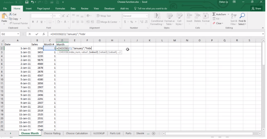 ADMNEXC308301 Excel Training - Learn to get month values using the CHOOSE function