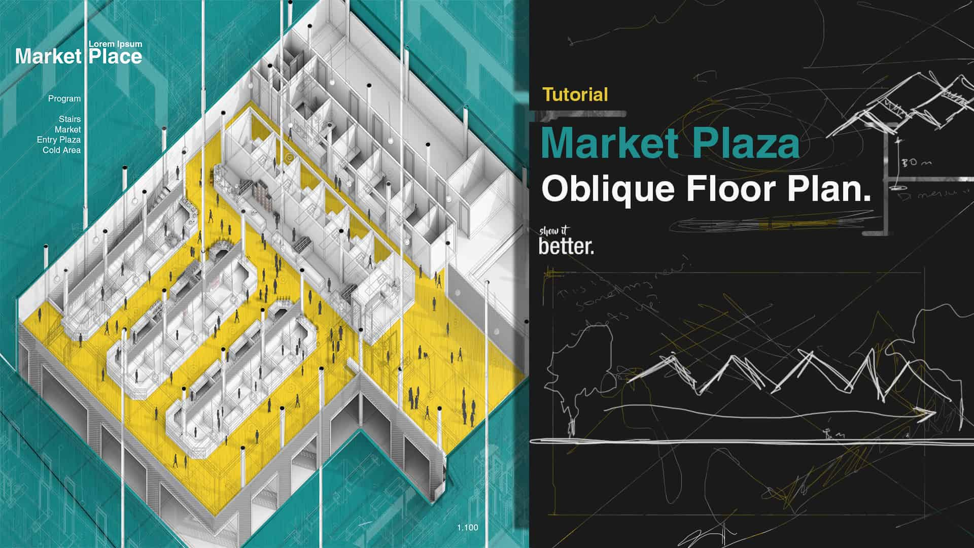 Market Place Oblique Plan Illustration