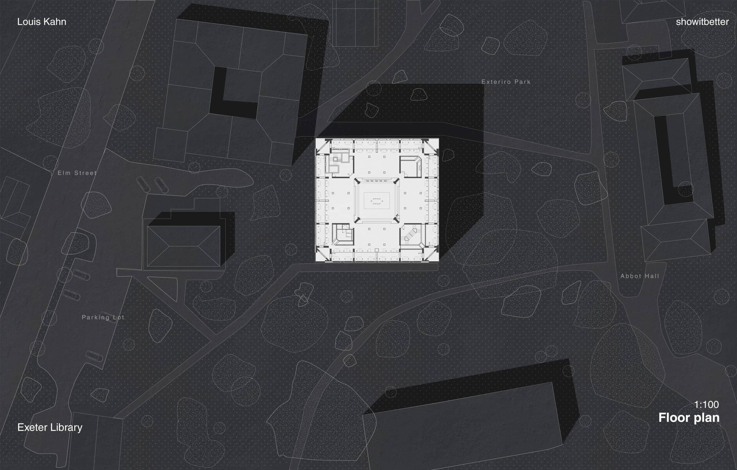 Exeter Louis Kahn Dark Plan