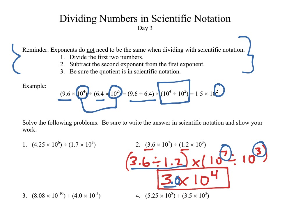 Worksheet Multiplying And Dividing Scientific Notation