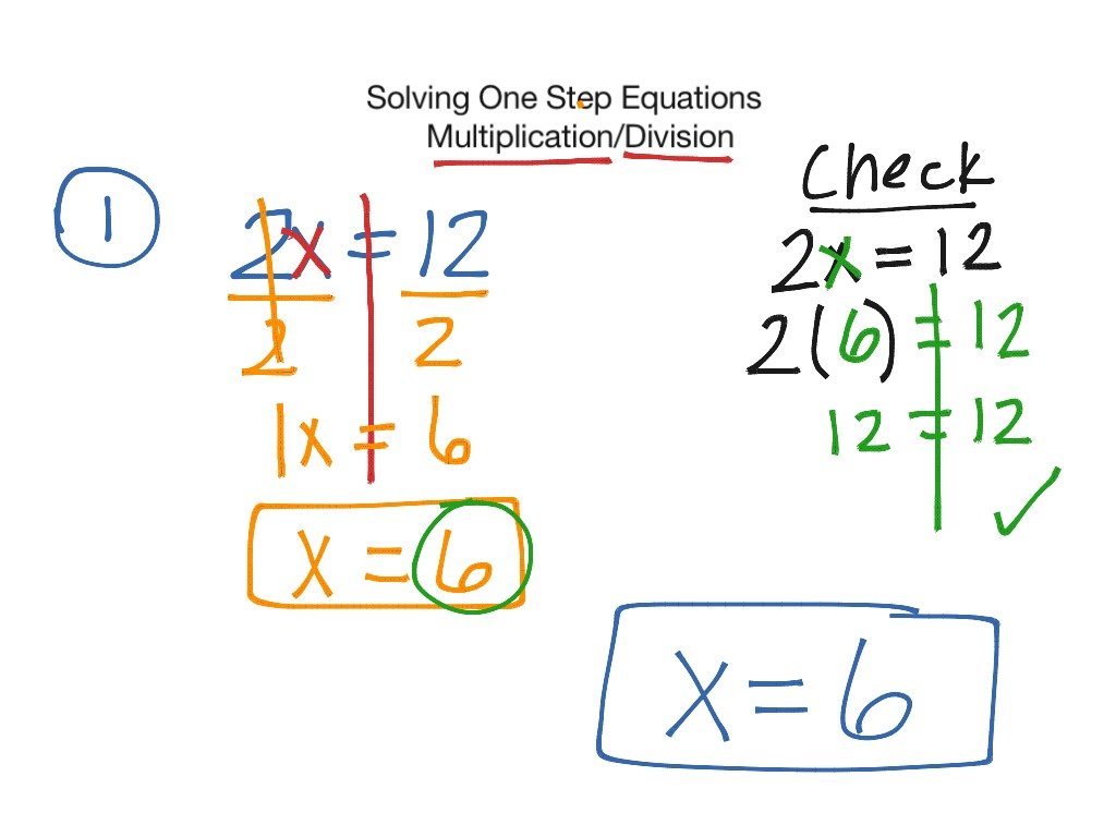 Solving One Step Equations Multiplication Division