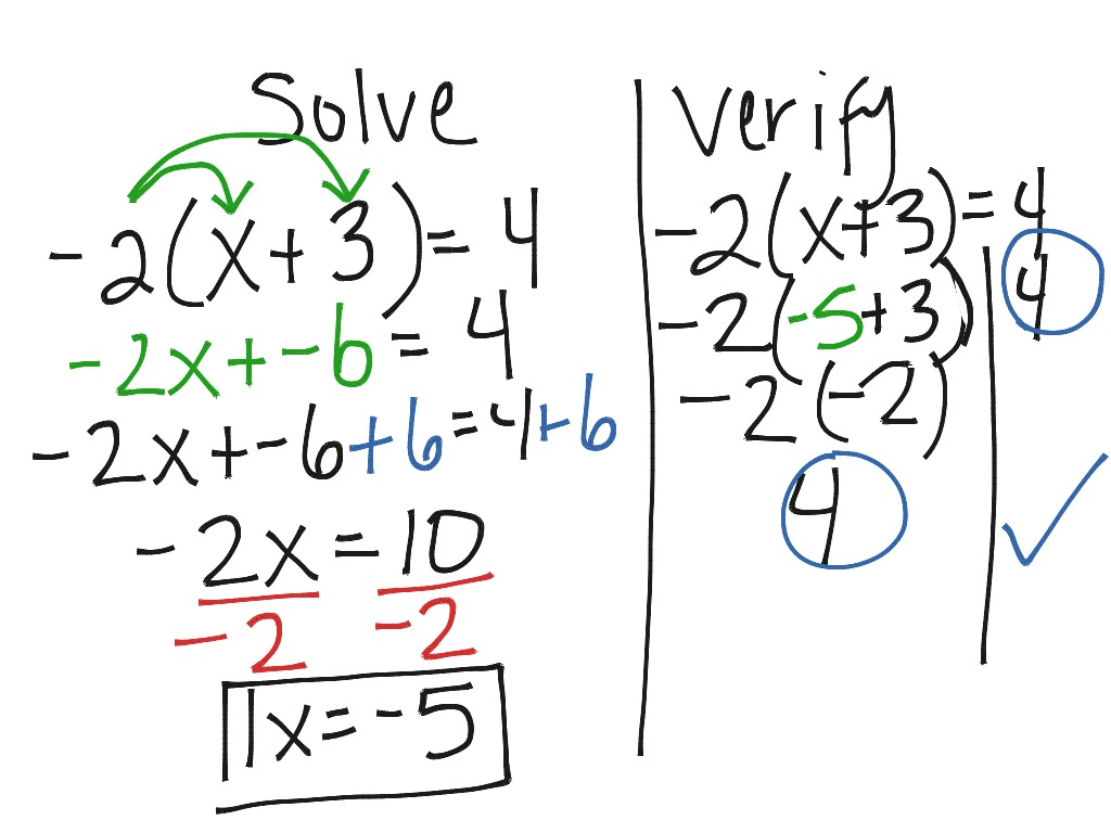 Solving Type 3 Equations Distributive Property