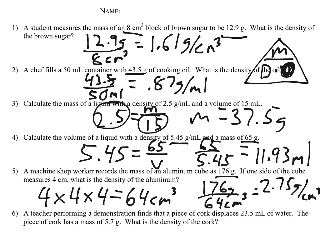 32 Density Calculations Worksheet 1