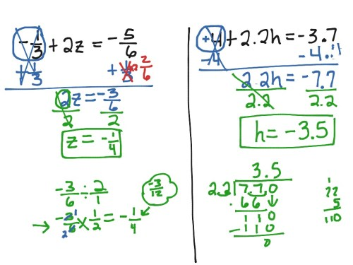 small resolution of Solving Two Step Equations   Math