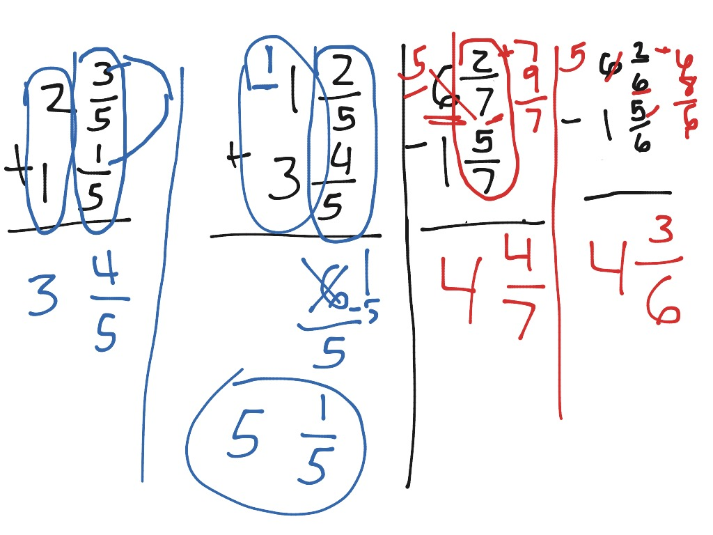 Add And Subtract Mixed Numbers With Or Without Regrouping