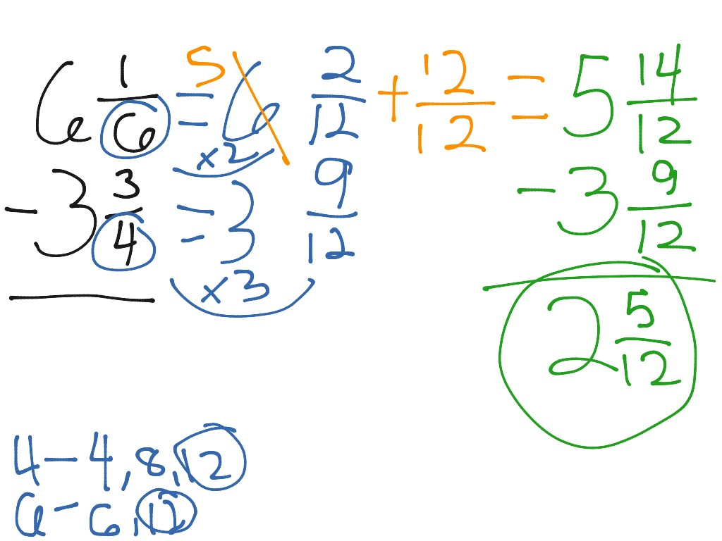 Subtracting Mixed Numbers With Different Denominators