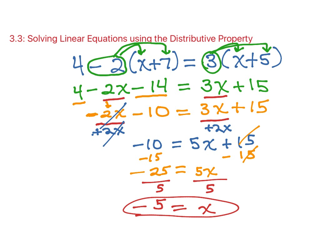 3 3 Solving Linear Equations Using The Distributive Prop