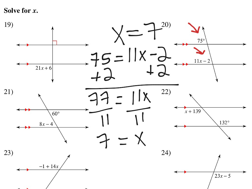 Write Equations To Find Missing Angles Worksheet