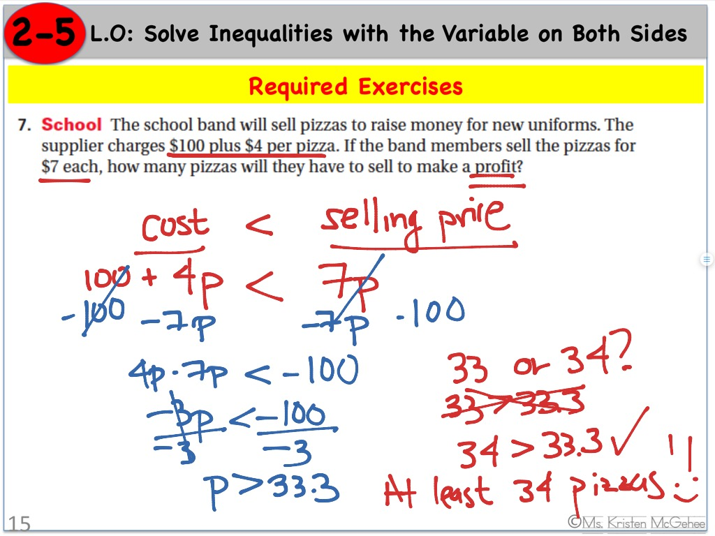 Inequalities Variable On Both Sides Word Problem